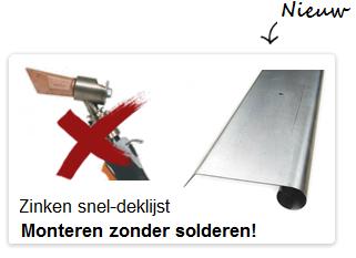 Zinken deklijst zonder soldering dakgootvoordeel.nl