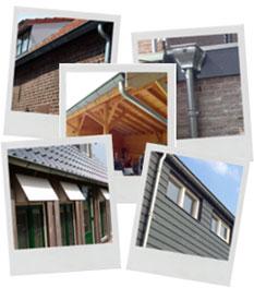 Referentie foto's zinken dakgoten en regenpijpen